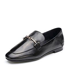 Bata/拔佳2018秋新专柜同款黑色舒适方头低跟牛皮革乐福女单鞋ABX21CM8