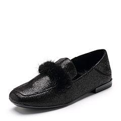 Bata/拔佳2018秋新款专柜同款黑色羊皮革貂毛平底休闲乐福女单鞋ABM25CM8