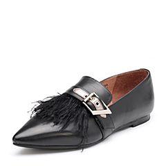 Bata/拔佳2018秋新专柜同款黑色尖头平跟羽毛牛皮女单鞋ADV21CM8