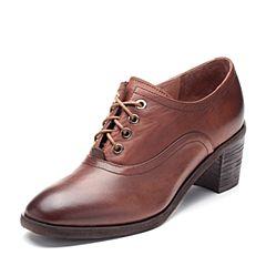 Bata/拔佳2018秋新专柜同款棕啡色简约系带粗高跟牛皮革女单鞋ABJ22CM8