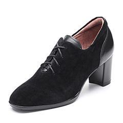 Bata/拔佳2018秋新专柜同款黑色粗高跟羊绒皮革女单鞋ACF20CM8