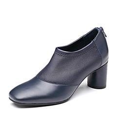 Bata/拔佳2018秋新款专柜同款蓝色弹力羊皮革方头粗高跟女单鞋778-2CM8