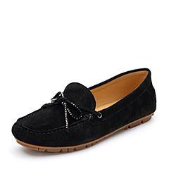 Bata/拔佳2018秋新专柜同款黑色圆头平跟羊绒皮革乐福女单鞋18-81CM8