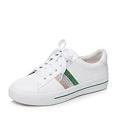 Bata/拔佳2018秋新款白色牛皮革条纹休闲平底女单鞋小白鞋TSY01CM8