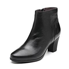 Bata/拔佳2018冬新款专柜同款黑色粗高跟通勤绵羊皮革女短靴ABA46DD8