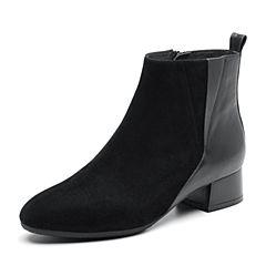 Bata/拔佳2018冬新款专柜同款黑色羊绒/牛皮粗中跟女靴短靴XBR06DD8