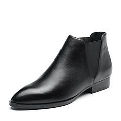 Bata/拔佳2018冬新款专柜同款黑色牛皮革女皮靴切尔西靴及踝靴RBT01DD8