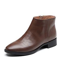 Bata/拔佳2018冬新款专柜同款咖啡色牛皮革女皮靴及踝靴RBY07DD8