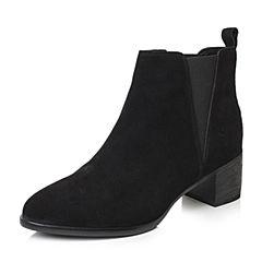 Bata/拔佳2018冬新款黑色牛剖层革粗高跟绒面女皮靴切尔西靴及裸靴TSY19DD8