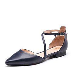 Bata/拔佳2019春新款专柜同款兰色绵羊皮革尖头低跟女凉鞋AI363AK9