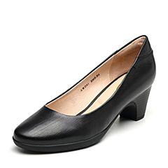 Bata/拔佳2019春新款专柜同款黑色胎牛皮革粗跟OL通勤女鞋AWD01AQ9