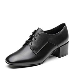 Bata/拔佳2019春新款黑色牛皮革方头粗跟OL通勤女单鞋9095DAM9