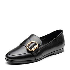 Bata/拔佳2019春新款黑色牛皮革金属皮带扣乐福鞋女单鞋81833AM9