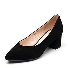 Bata/拔佳2019春新款专柜同款羊绒皮革浅口粗跟女单鞋9BQ01AQ9