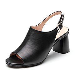 Bata/拔佳2019?#30007;?#27454;专柜同款羊皮革通勤高跟后空女凉鞋8862DBL9