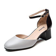 Bata/拔佳2019?#30007;?#27454;专柜同款羊皮革粗中跟包头中空女凉鞋19852BK9