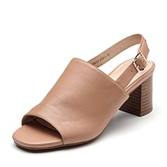 Bata/拔佳2019?#30007;?#27454;专柜同款羊皮革通勤粗高跟女凉鞋19612BL9