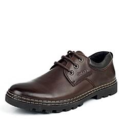 BELLE/百丽秋季专柜同款棕色油磨砂牛皮男皮鞋1YZ01CM3