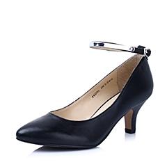Belle/百丽春季专柜同款黑色绵羊皮尖头细跟女单鞋3VDD6AQ4