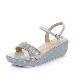 Belle/百丽夏季专柜同款银白贴膜羊皮/浅灰绒布女凉鞋BFU33BL4