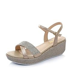 Belle/百丽夏季专柜同款金色贴膜羊皮/杏色绒布女凉鞋BFU33BL4