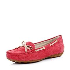 Belle/百丽粉红色羊绒/浅金色金属羊皮女鞋2015春季83-17AM5