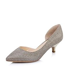 Belle/百丽2015年春季金色闪金布尖头侧空女皮鞋13-63AK5