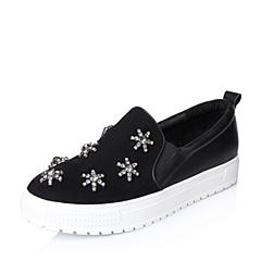Belle/百丽年秋季黑色羊绒皮星星水钻女单鞋 厚底乐福鞋 136-4CM5