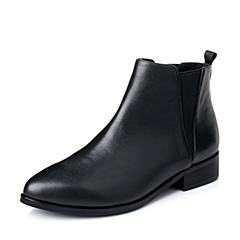 Belle/百丽2015年秋黑牛皮时尚休闲百搭女短靴A3-5DCD5