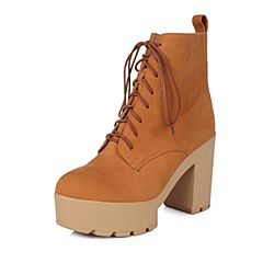 Belle/百丽冬专柜同款棕黄磨砂牛皮时尚摩登女短靴BHK44DD5