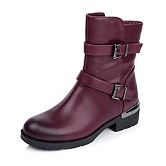 Belle/百丽冬专柜同款酒红油皮牛皮休闲中性女中靴BEXA3DZ5