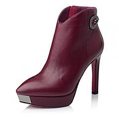 Belle/百丽冬季酒红色时尚俪人牛皮革女靴1-101DD5