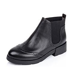 Belle/百丽秋专柜同款布洛克切尔西靴小牛皮女短靴BIH43CD5