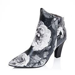 百丽精品bevivo冬专柜同款潮流个性印花牛皮革女短靴MRI40DD5
