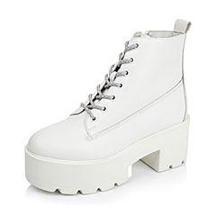 Belle/百丽冬专柜同款白牛皮潮流型格女短靴3T644DD5