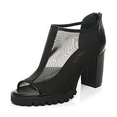 Belle/百丽春季专柜同款黑色网布/牛皮女鱼嘴鞋P2A2DAU5