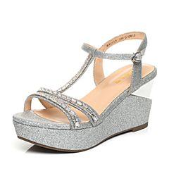 Belle/百丽夏季专柜同款银色亮片布女凉鞋BBOA9BL5