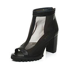 Belle/百丽夏季专柜同款黑色网布/牛皮鱼嘴女凉靴P2A1DAB5
