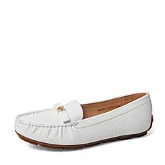 Belle/百丽春季专柜同款白色牛皮浅口女单鞋BDM02AQ6