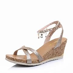 Belle/百丽夏专柜同款金织物知性优雅女凉鞋L3RMEBL6