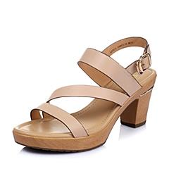 Belle/百丽夏季专柜同款杏色胎牛皮革女凉鞋3ZFC3BL6