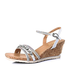 Belle/百丽夏专柜同款银色羊皮革休闲舒适女凉鞋3RMF2BL6