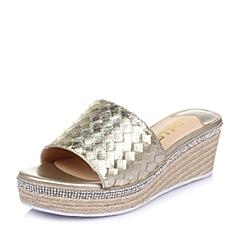 Belle/百丽夏季专柜同款金色贴膜编织猪皮革女鞋BFUA9BT6