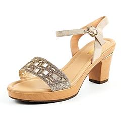 Belle/百丽夏季专柜同款贴膜山羊皮革女凉鞋3ZFC1BL6