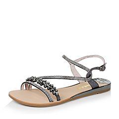 Belle/百丽夏季专柜同款黑/深灰牛皮革/绒布女凉鞋Q2K1DBL6