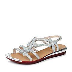Belle/百丽夏季专柜同款银色羊皮革女凉鞋Q2J2DBL6