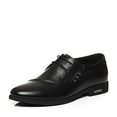 Belle/百丽秋季专柜同款黑色牛皮革男皮鞋4MB01CM6