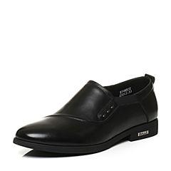 Belle/百丽秋季专柜同款黑色牛皮革男皮鞋4MB02CM6