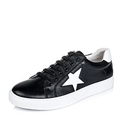 Belle/百丽秋专柜同款黑/白色牛皮男休闲鞋4NM01CM6