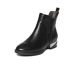 Belle/百丽冬季专柜同款黑牛皮女短靴(皮里)3C3H9DD6